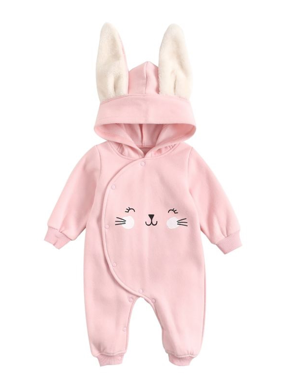 kiskissing wholesale adorable baby fleece lined animal style hooded jumpsuit