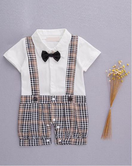 kiskissing wholesale one piece romper jumpsuit straps bow tie party wear for baby boys
