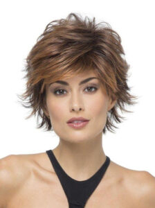 Short voluminous feathered hairstyle