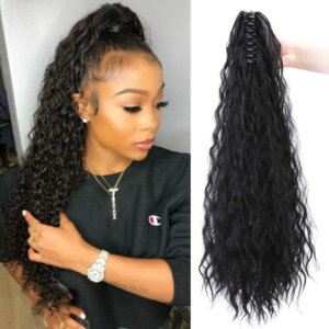 High curly ponytail hairstyle with curly hair extension